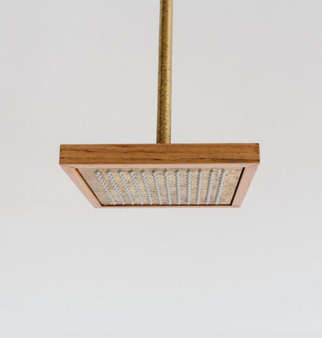 Otis Timber and Brass Shower Head - Wood Melbourne
