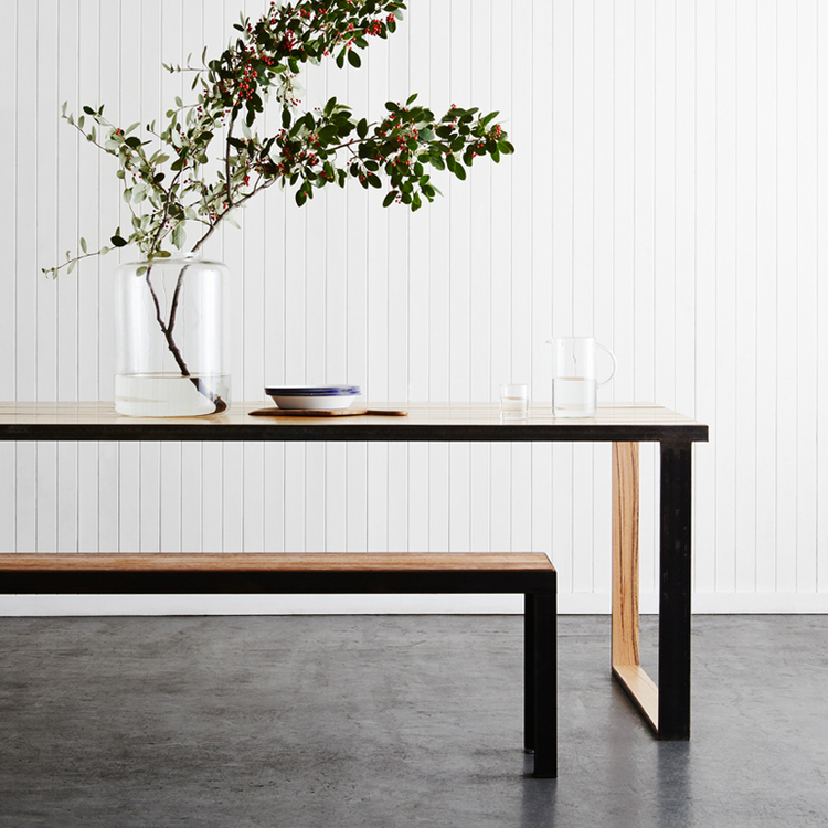 The Black Metal Table (Verse 2) - Steel Box Legged Table With Recycled Messmate In-Lay