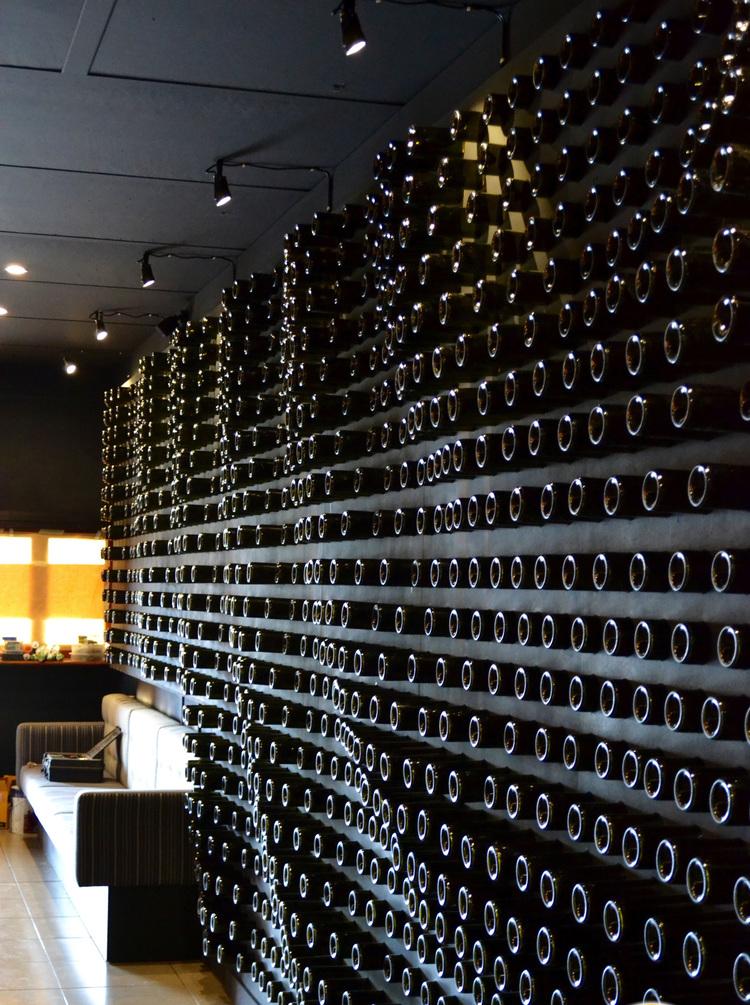The Maven's impressive wall of 2300 wine bottles