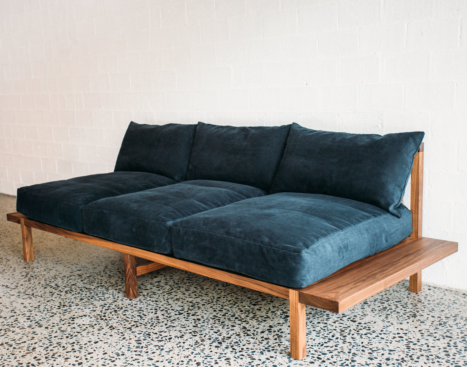 The Finley Sofa - JD.Lee Furniture - American Walnut Base and Italian linen upholstery