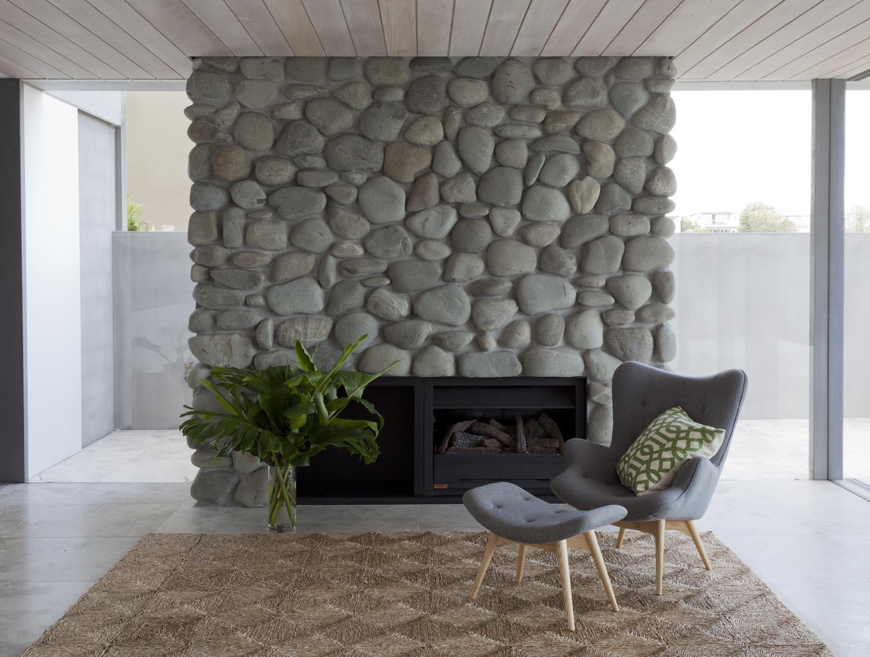 Gordon's Bay House - Australian Interior Stone Fireplace - Madeleine Blanchfield Architects - Architecture Archive