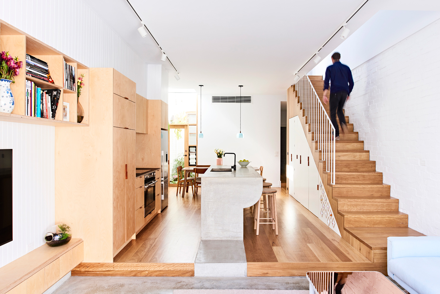 High House - Australian Timber Kitchen Stairs - Dan Gayfer Design - Interior Archive