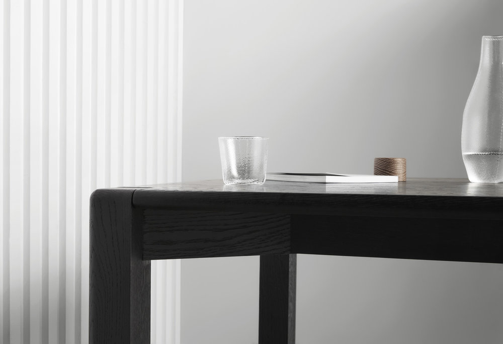 AOD Dining Table black american oak timber - charred