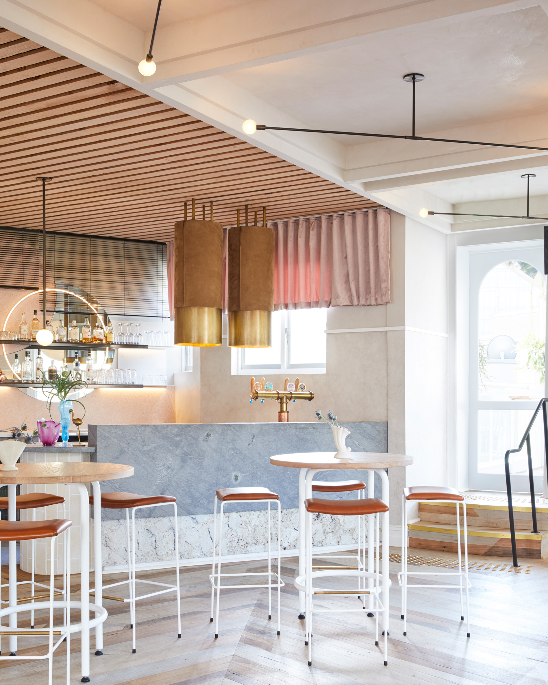 Envisioned As A Feminine Bar Experience, The Rooftop Is Adorned With Gentle Pastel Tones & Is Light, Bright & Open