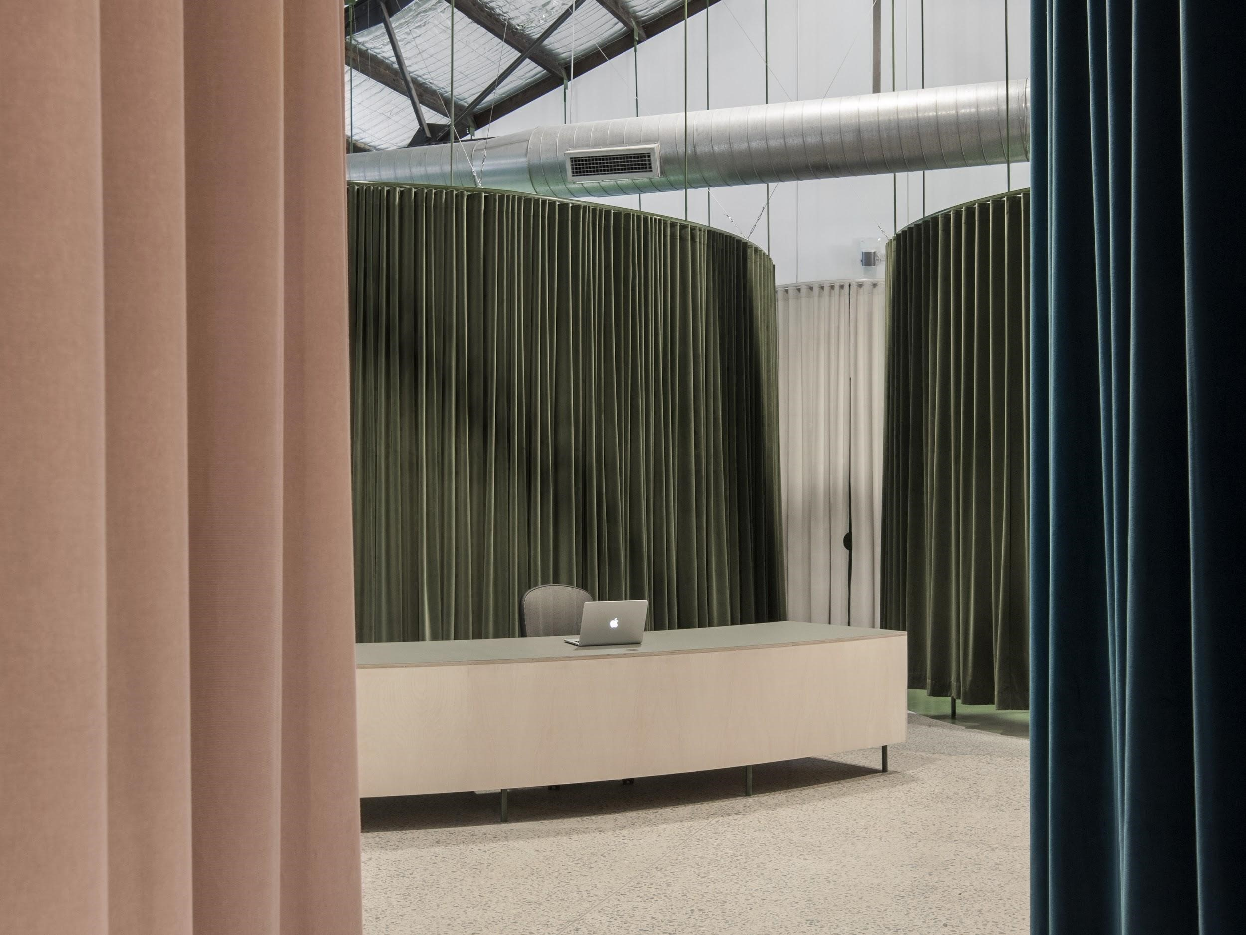 The Curtains Alternately Conceal And Reveal, Creating Zoned 'pods' Whose Purpose Is Denoted By The Colour.