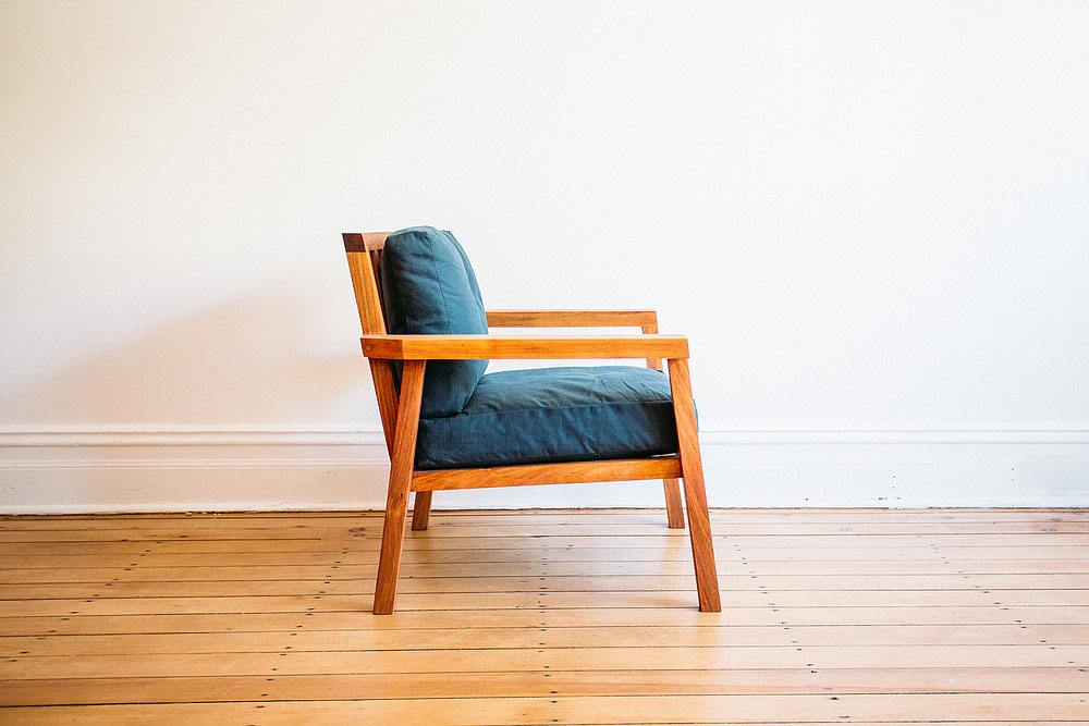 Archi One Seater Chair - Tasmanian Blackwood Timber Italian Linen